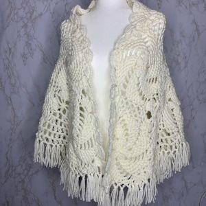 Vintage Handmade Crocheted White shawl wrap fringe